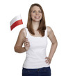 Attractive woman shows flag of Poland and smiles