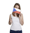 Attractive woman hides her face behind Czechia flag
