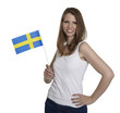Attractive woman shows flag of Sweden and smiles