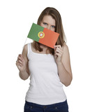 Attractive woman hides her face behind flag of Portugal