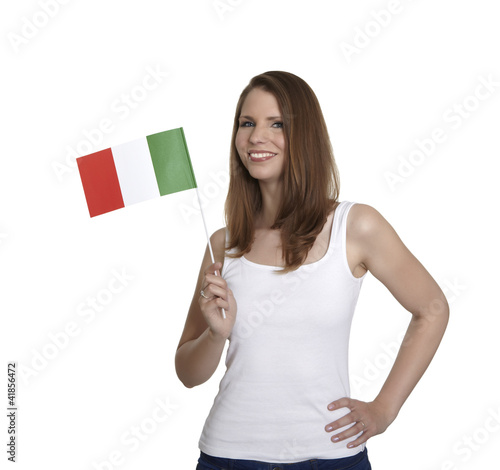 Attractive woman shows flag of Italy and smiles