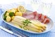 Asparagus with Hollandaise sauce, potatoes, ham and herbs