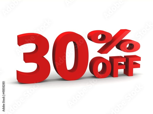 thirty percent off in red 3d letters