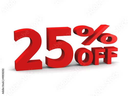 twenty-five percent off in red 3d letters