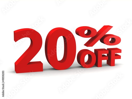 twenty percent off in red 3d letters