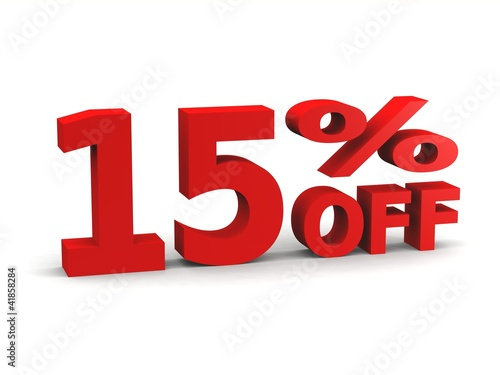 fifteen percent off in red 3d letters