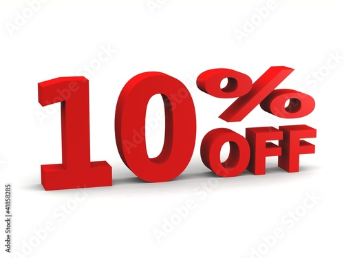 ten percent off in red 3d letters
