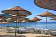 The beach umbrellas and chairs on beach