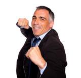 Elegant latin broker man boxing poster