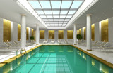 Indoor hotel spa swimming pool lounge interior room skylight