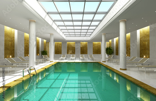 Indoor hotel spa swimming pool lounge interior room skylight by ...
