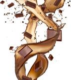 Chocolate bars in splash, isolated on white background