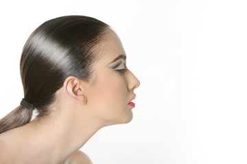 studio portrait of young beautiful woman with bright makeup isol