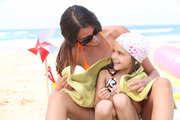 Mother and daughter on beach