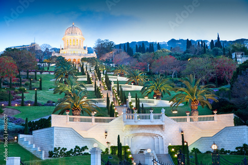 Night view on Bahai Gardens. Israel.