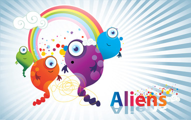 aliens de color en vector