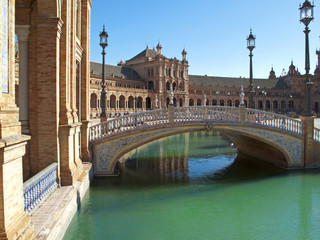 Bridge over canal in Plaza de Espana, Seville, Spain
