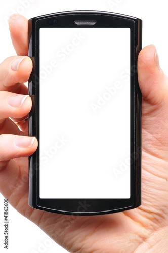 female hand is holding a modern touch screen phone. Screen is cu