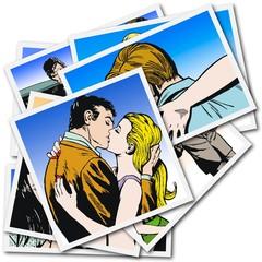 Pareja de Enamorados Besandose