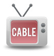 """Cartoon-style TV Icon with """"Cable"""" wording on screen"""