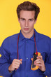 electrician holding a multimeter around his neck