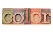 color word in wood type