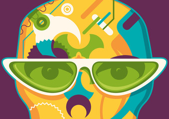Abstract illustration with sunglasses.