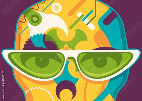 Plakat Streszczenie ilustracji z okulary.