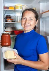 woman near the fridge