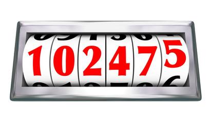 Odometer Wheels Numbers Age Mileage of Vehicle
