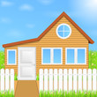 Wooden house, vector eps10 illustration