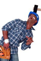 Injured man smashed by hammer