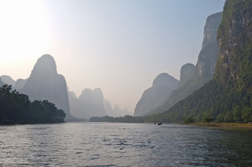 Li river near Yangshuo Guilin Mountains