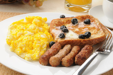 Sausage and eggs with french toast