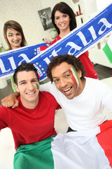 Group of Italian sports fans