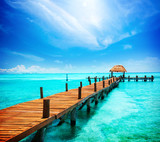 Fototapety Vacation in Tropic Paradise. Jetty on Isla Mujeres, Mexico