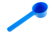 Blue plastic measuring spoon on white background