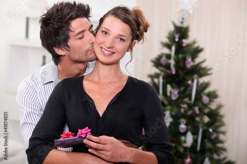 Couple celebrating Christmas together