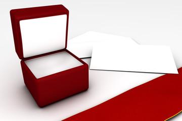 Cofanetto regalo con biglietto e nastro rosso