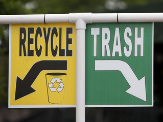 Recycle and trash sign