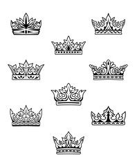 Set of king and queen crowns