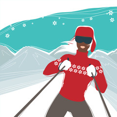Glamour girl skiing, winter season sports vector illustration.
