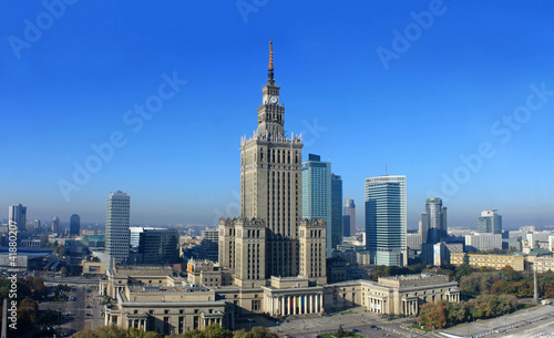 Warsaw panorama with palace science and culture