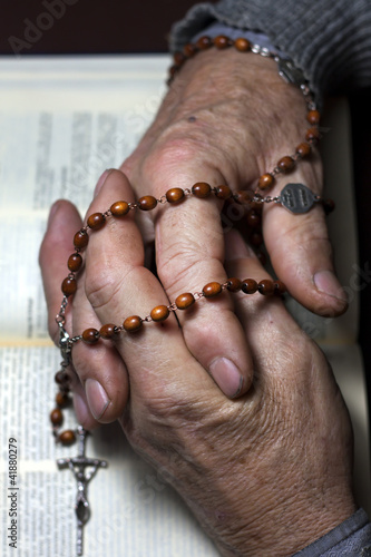 prayer old hands praying in church