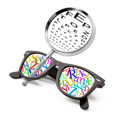 occhiali lettere