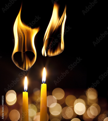 flame of love romantic background with hearts