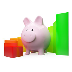 Colorfull diagram with piggy bank