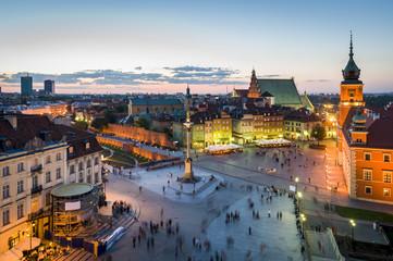Panorama Warszawy z starego miasta w nocy