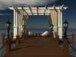romantic wedding gazebo with wooden pergola  on the sea