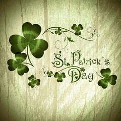 St.Patrick day greeting with shamrocks